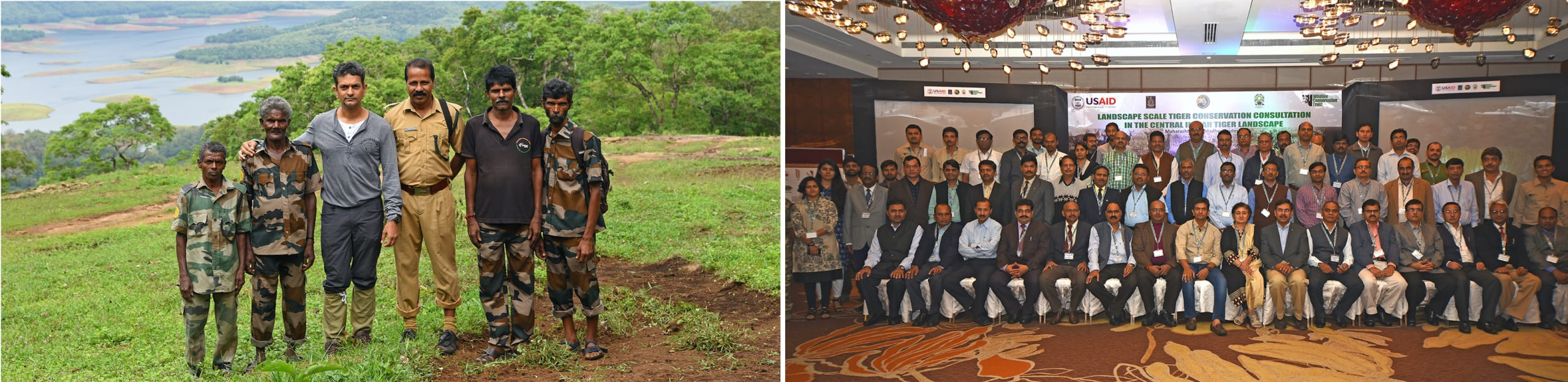 (Left) Anish Andheria with frontline forest staff at Parambikulam in 2017. Throughout his career Andheria has taken up the cause of forest guards, highlighting their struggles and needs. (Right) WCT organised a consultation on tiger conservation between Madhya Pradesh and Maharashtra forest departments. Photos courtesy: WCT