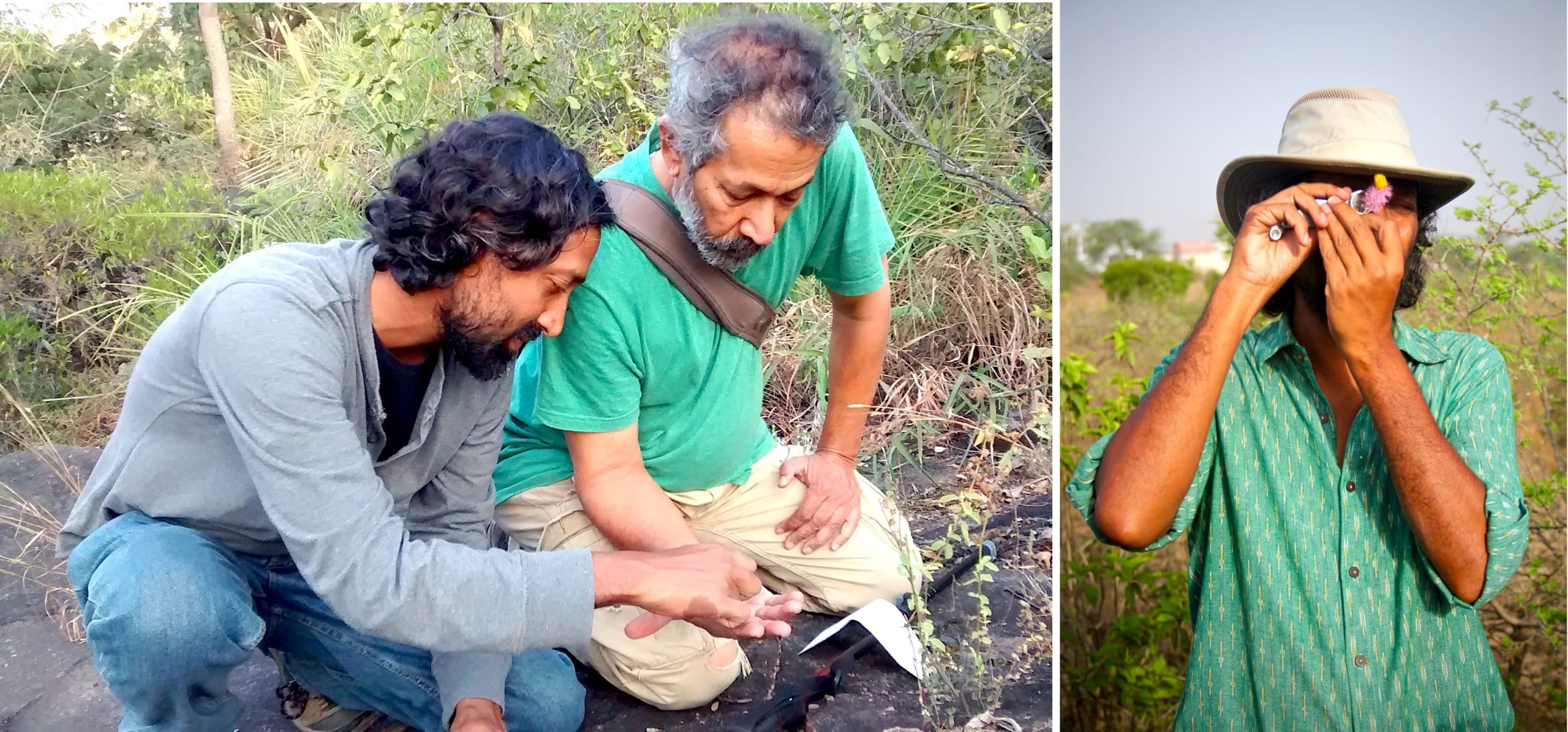 (Left) A chance meeting with naturalist Pradip Krishen in 2005 set him on the path of restoring and rewilding degraded landscapes in Uttarakhand, Rajasthan, and the National Capital Region. (Right) A self-taught ecologist, he feels it is critical to study and understand native plants found in a landscape before setting out to restore it.  Cover photo: Despite the many setbacks he's faced as an activist for the environment and spokesperson for native flora, 47-year-old Vijay Dhasmana, who was born in Bayali village in Uttarakhand, is hopeful about the future.