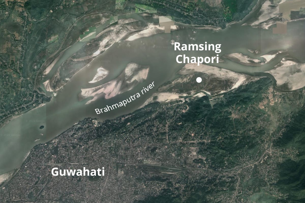 Ramsing Chapori is one of the numerous river islands on Assam's Brahmaputra river. Map from Google Earth.  Cover Photo: A white-tailed stonechat. Cover photo: Rofikul Islam