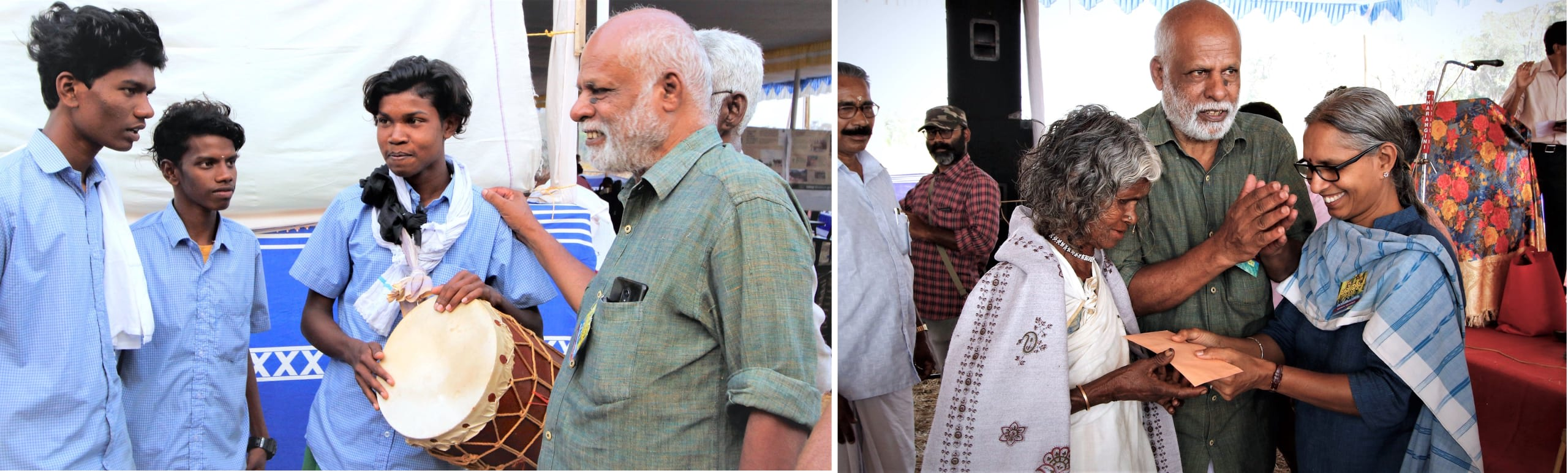 Badusha considers the upliftment of Wayanad's marginalised tribal communities a cause close to his heart. Here he engages with Katunayaka tribal youth (left) and felicitates a tribal farmer (right) along with Usha Soolapani from the NGO Thanal at events held in Muthanga, Wayanad, in 2019.