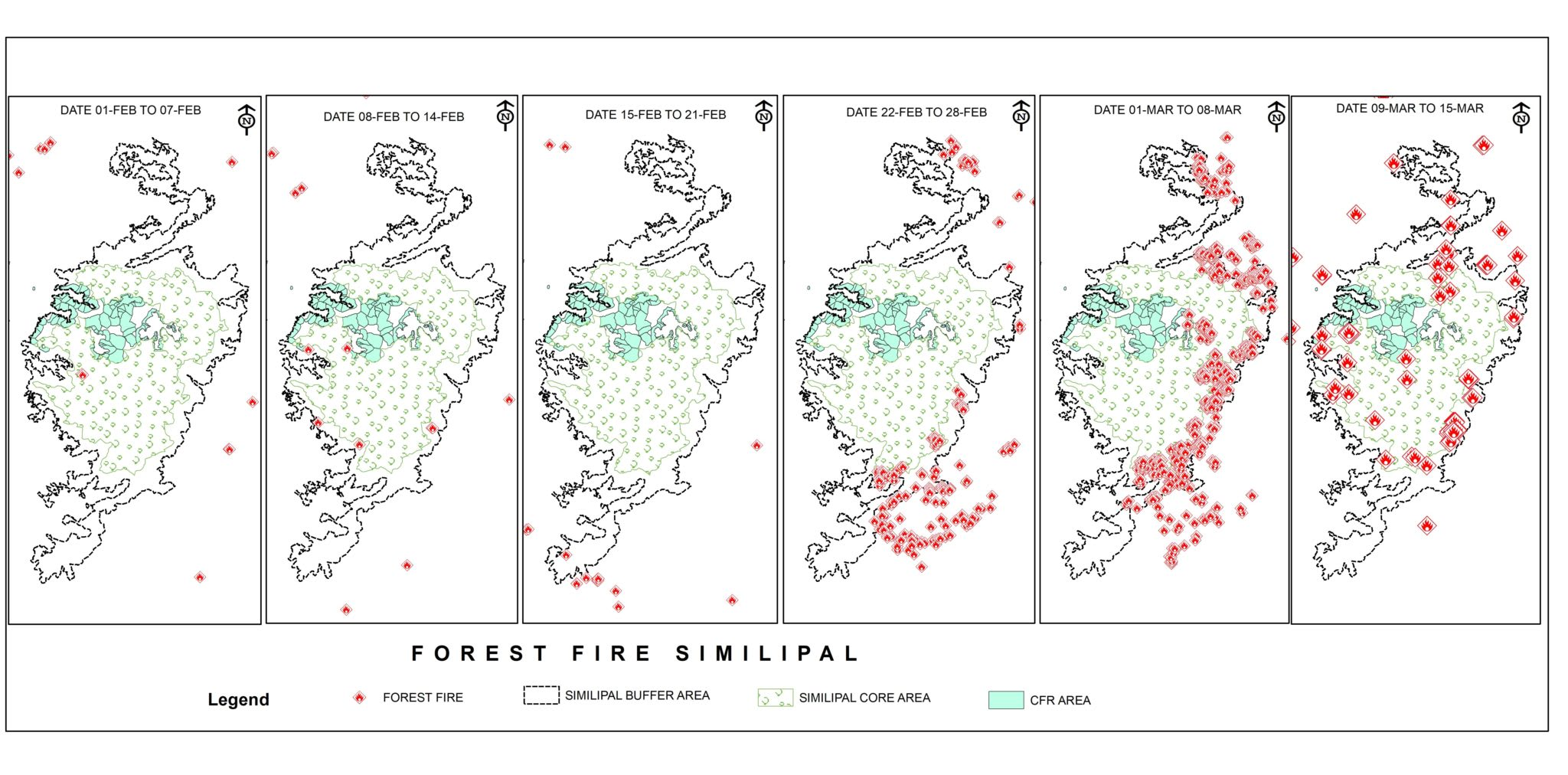 A time-series map of wildfire in Similipal Biosphere Reserve showing the community-managed forests (CFR areas) are the least impacted by the inferno. Image courtesy: FSI; Map analysis: Swapneswar Dehury
