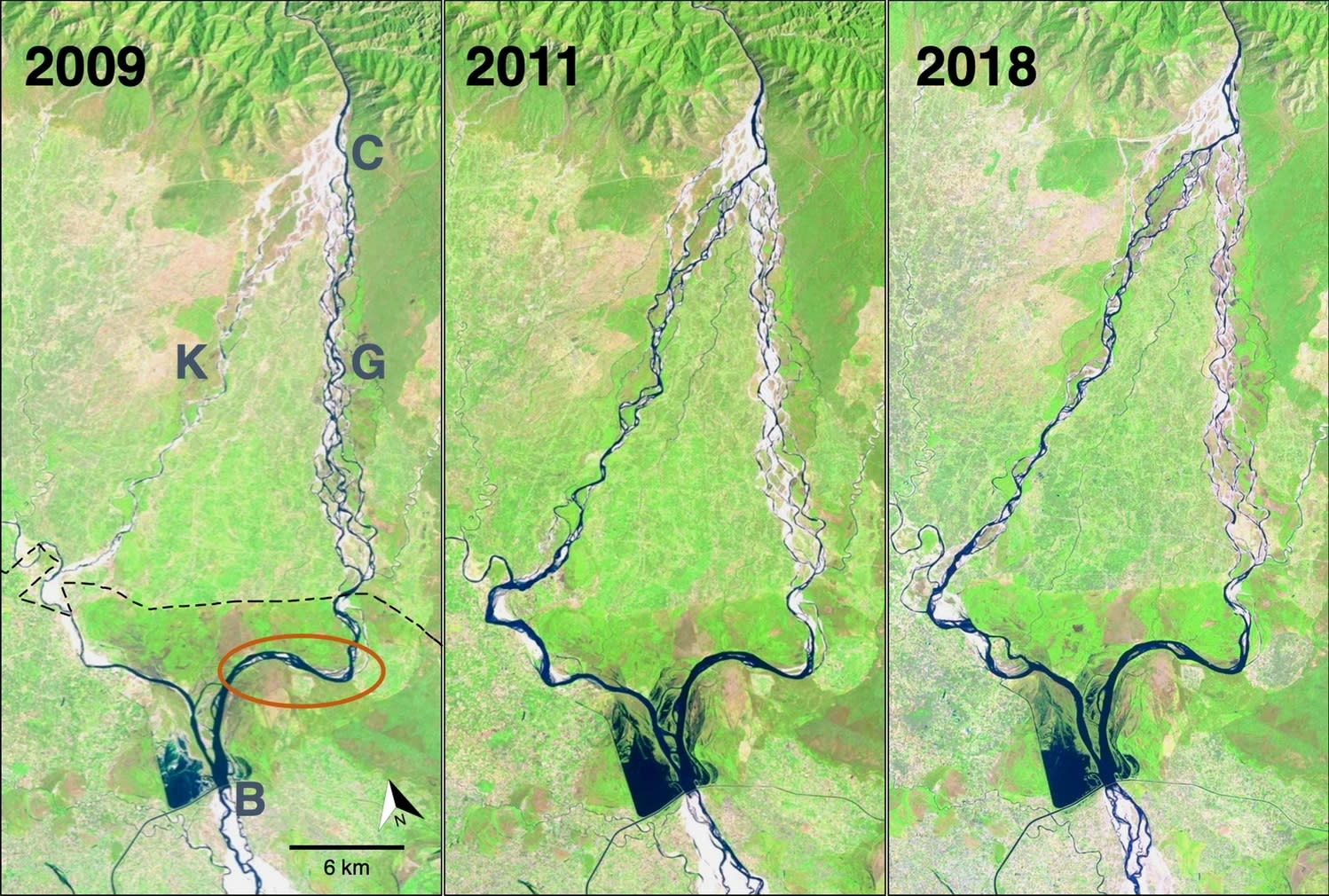 Satellite images before (2009; left panel) and after (2011 and 2018; middle and right panels) a flood event in 2010 in Karnali river channels, Nepal. The flood resulted in a mainstream channel shift from east (right side,=G, Geruwa channel in Nepal) to west (left side,=K, Karnali channel in Nepal). Map from Vashistha et al. 2021.  Cover photo: Representational photograph of gharial hatchlings. Cover photo: Dhritiman Mukherjee
