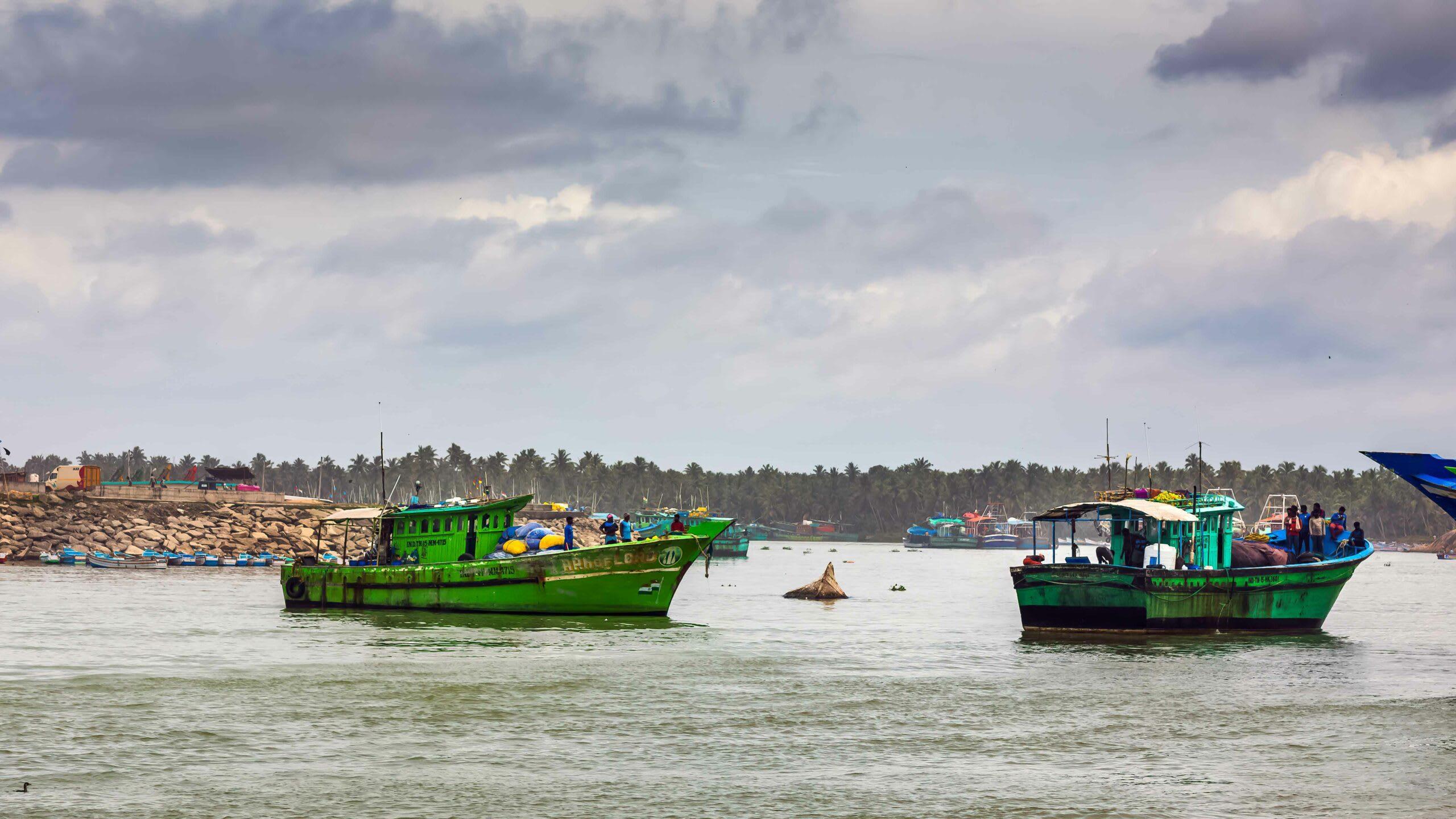 Trawl boats near Thengapattanam harbour along the coast of Kanyakumari in south India. Photo: AFZAL KHAN MAHEEN/Shutterstock