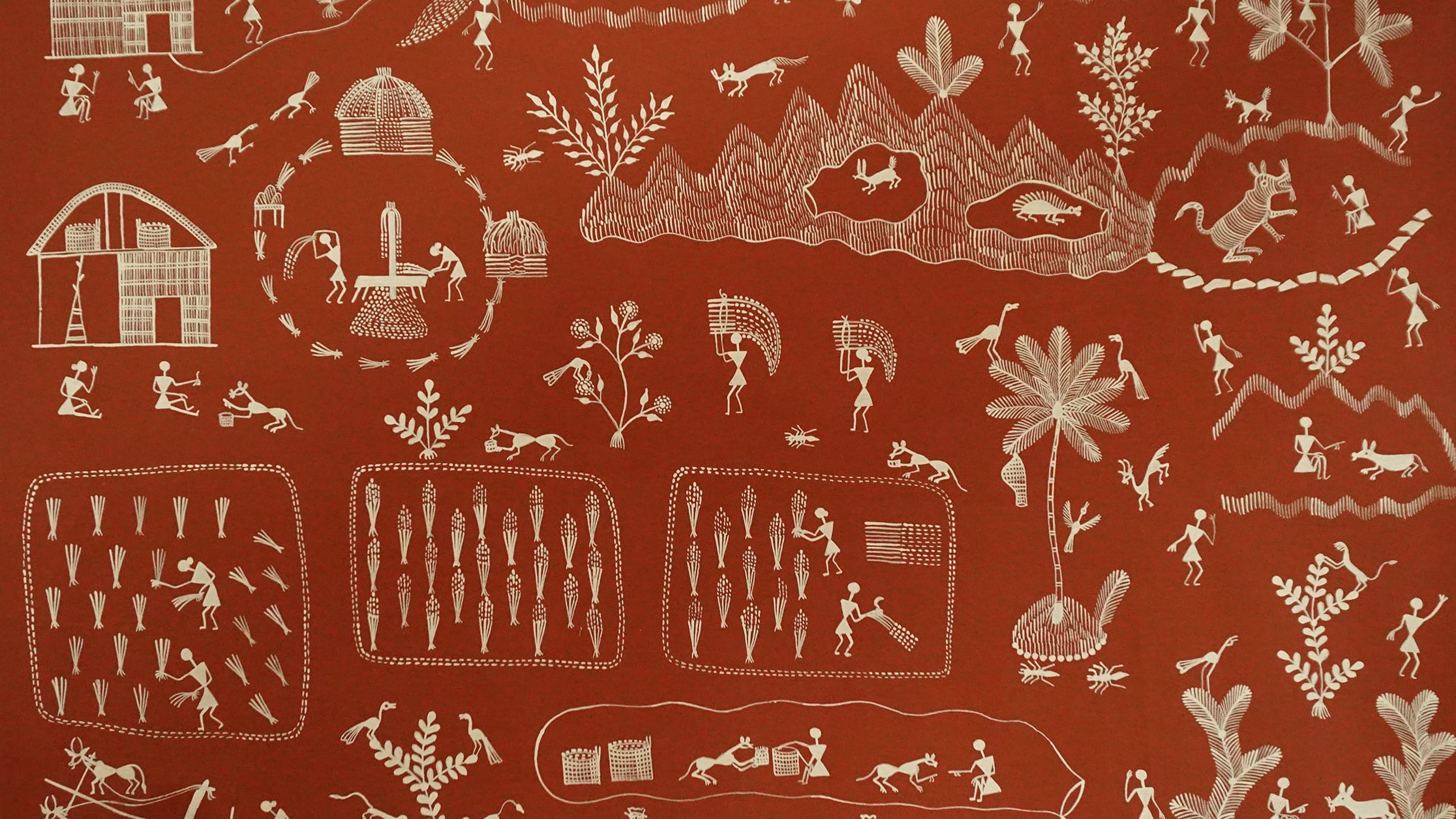 Scenes from everyday life, which include the integration of many different animals, are the main theme of Warli paintings, an ancient folkart form from Maharashtra. Photo: From Warli tribe archives, courtesy Prof. Pradip Prabhu.