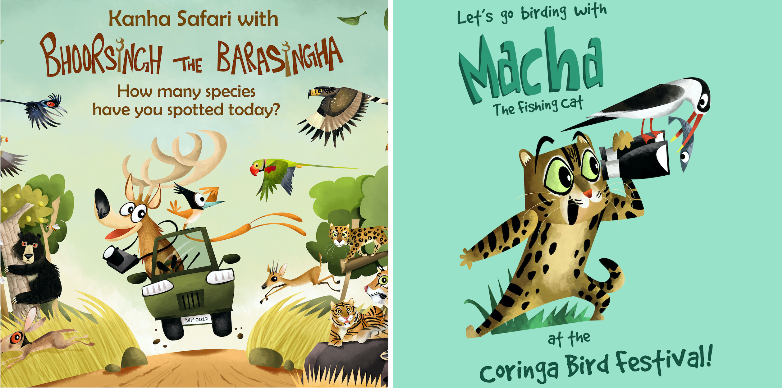 Chakravarty has collaborated with state forest departments to create eye-catching mascots for various sanctuaries and reserves. Seen here are Bhoorsingh the barasingha for Kanha National Park (left) and Macha the fishing cat for the Coringa Wildlife Sanctuary (right). Photo: Madhya Pradesh Forest Department (left) Andhra Pradesh Forest Department (right)  Cover photo: Rohan Chakravarty and his dog Srishti. Cover photo: Rohit Chakravarty