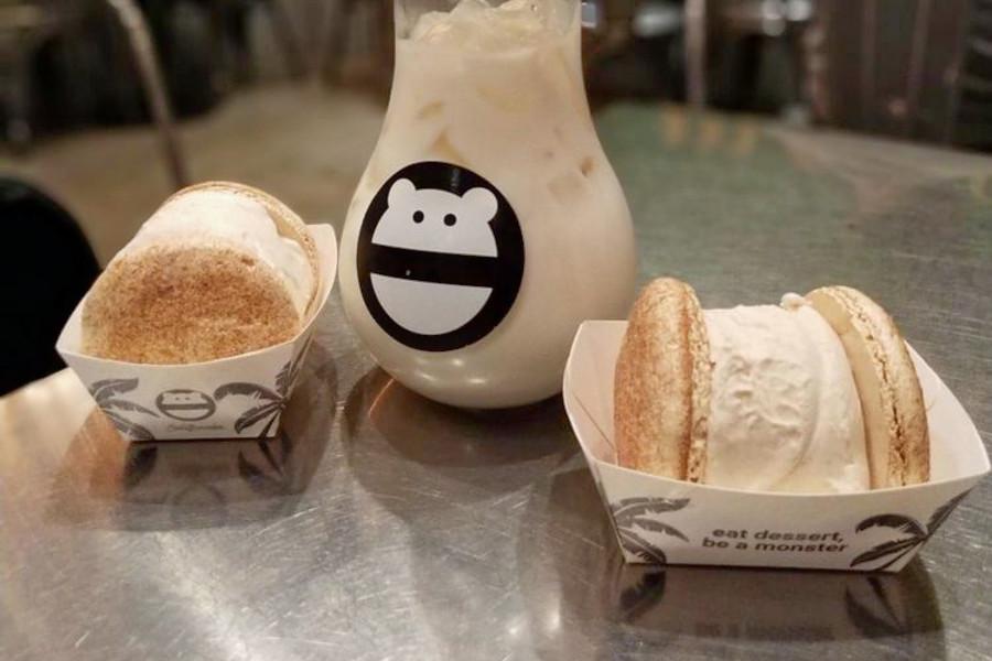 Macaron Ice Cream Sandwiches and Milk Tea from Snow Monster in Irvine CA