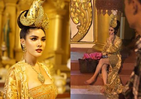 Ladyboy net idol apologizes on TV for wearing 'inappropriate' costume to Shwedagon Pagoda