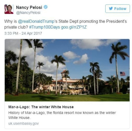 State Department removes government blog post touting Trump's personal Mar-a-Lago resort