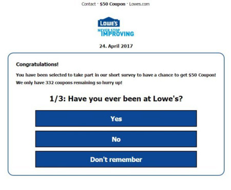 $50 Lowe's Mother's Day coupon on Facebook is a scam