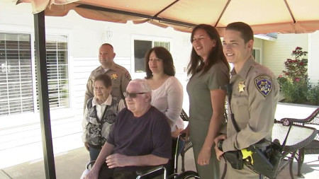 Man thanks CHP officers who helped save him from burning car near Adelanto