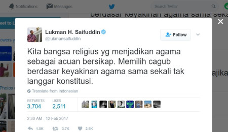 Religious Affairs Minister criticized for tweeting 'choosing a governor based on religious belief does not violate the constitution'