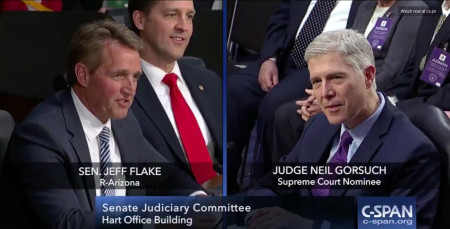 Jeff Flake Gets a Bit, Uh, Flaky, Asks Supreme Court Nominee Neil Gorsuch About  Horse-Sized Ducks