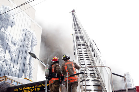 Photos: Toronto firefighters battle fire that destroyed historic building at Yonge and St. Clair