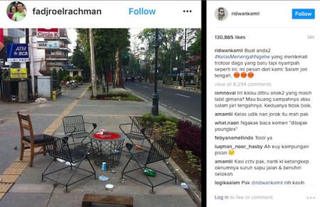 "Bandung Mayor Ridwan Kamil issues ""middle finger salute"" on Instagram to litterers on Dago sidewalk"