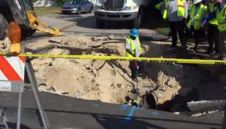 Sinkhole Opens Near Busy Fort Lauderdale Road