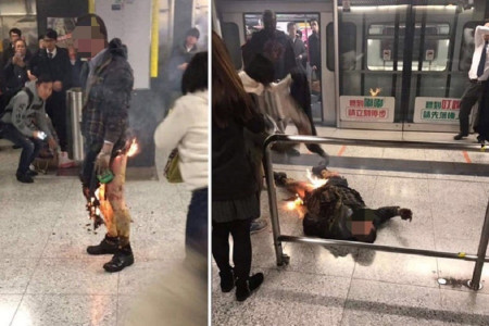 Man sets himself and MTR carriage on fire near Tsim Sha Tsui, injuring 18