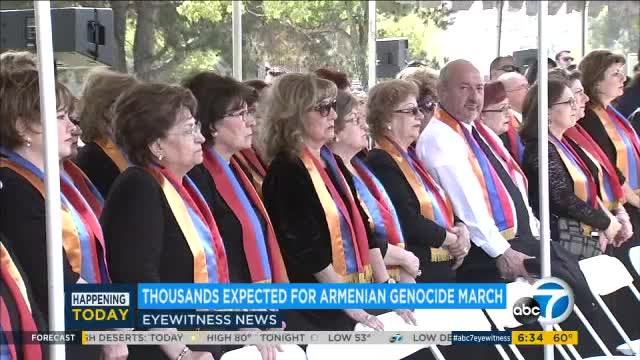 Thousands march in DTLA to commemorate 102nd anniversary of Armenian genocide