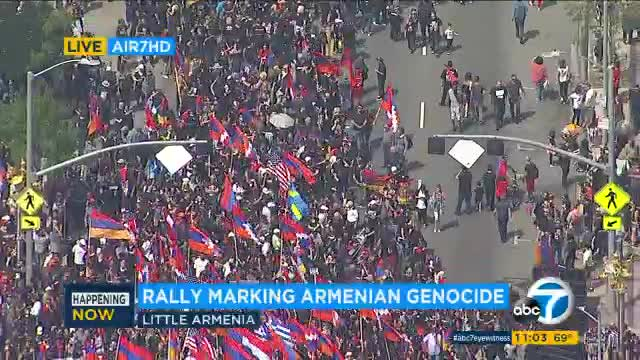 Thousands march in LA to commemorate 102nd anniversary of Armenian genocide