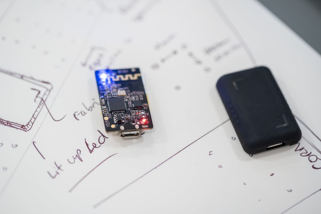 Designing a product - artist drawing and circuit board