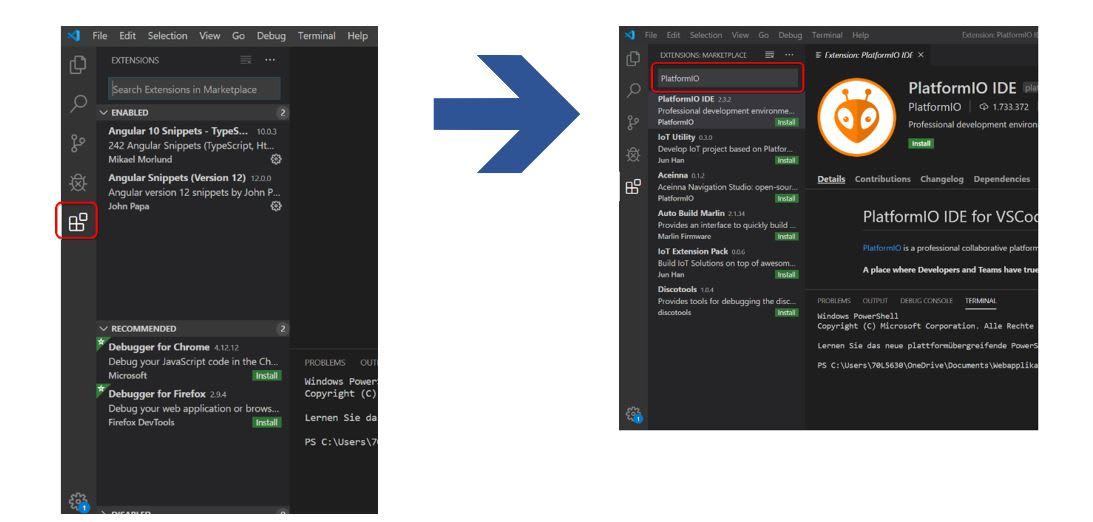 PlatformIO Extension over the VS-Code extension menu