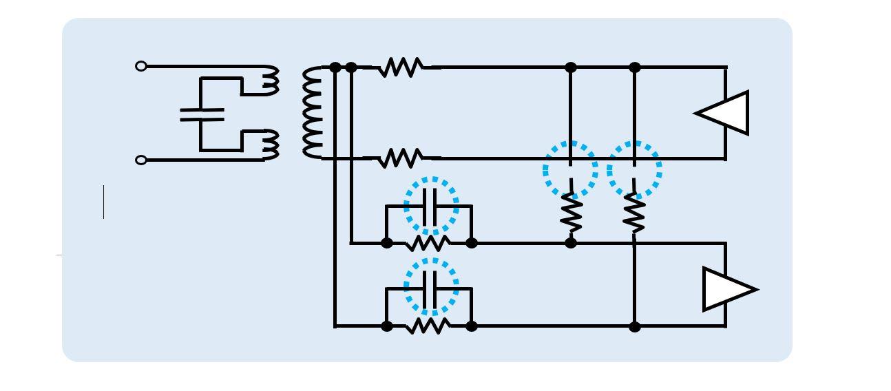 Circuit diagram showing caps