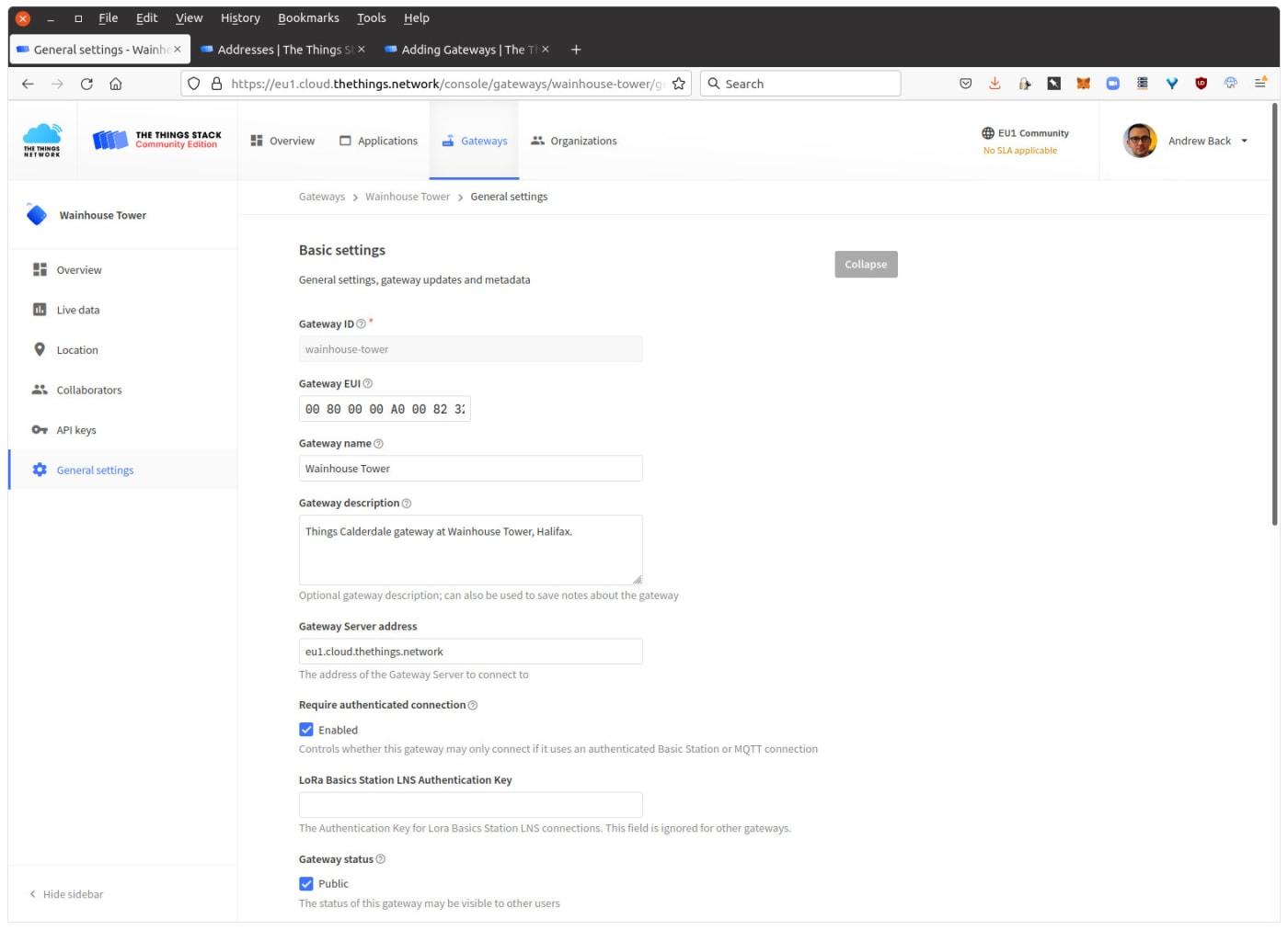 Enter key in basic settings screen