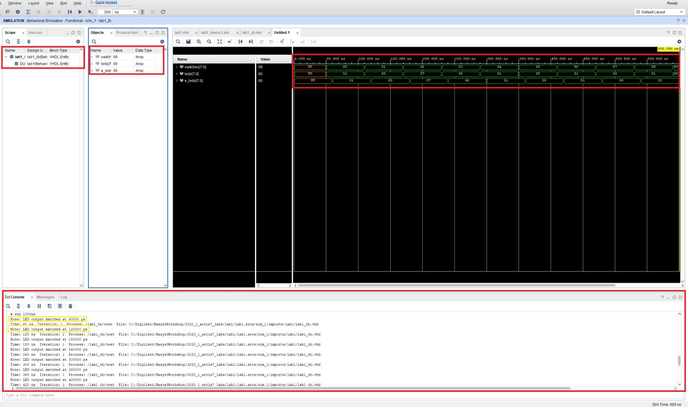 Simulator output
