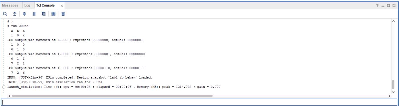 Tcl console output