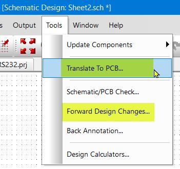 Tools Menu - translate to PCB