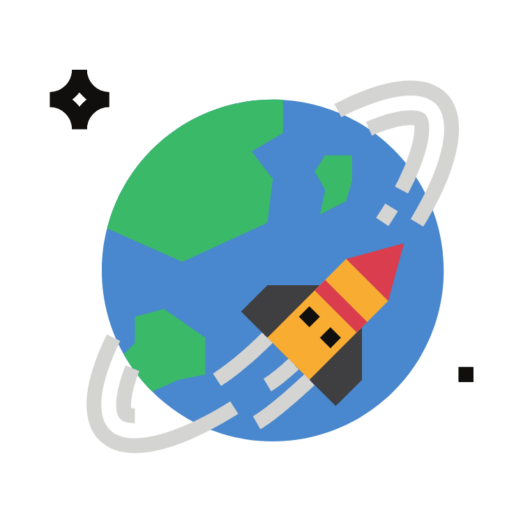 Image of a rocket flying around the world