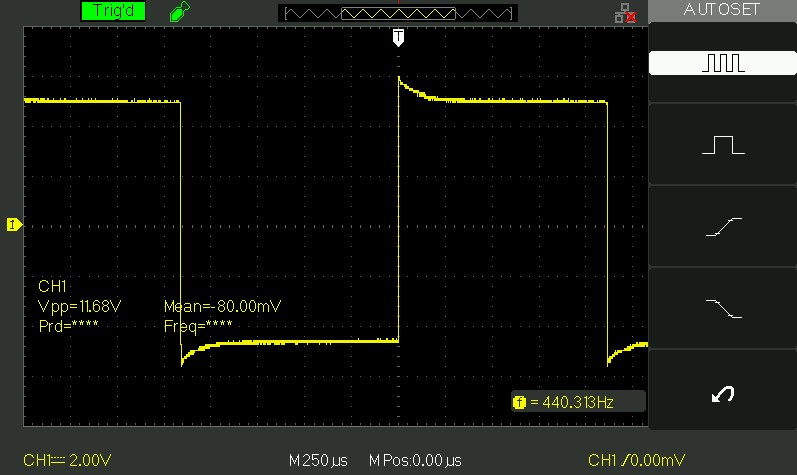 fixed frequency output of the 40106 square wave schematic