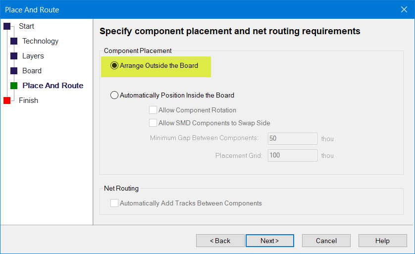 specify component placement