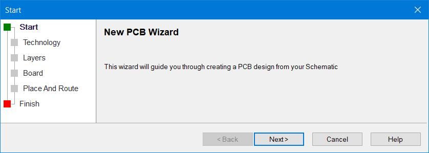 New PCB Wizard Starts