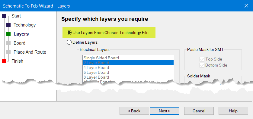 Specify which layers are required