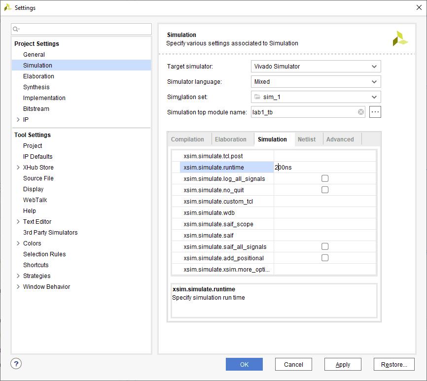 Setting simulation run time