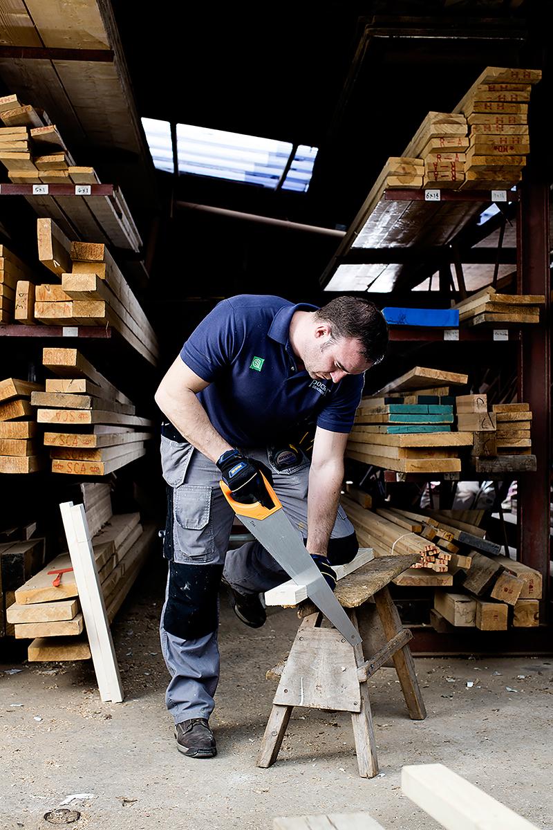 Hand Saw Cutting Wood