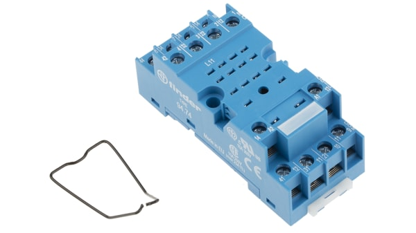 94 74sma Finder 14 Pin Relay Socket Din Rail Panel Mount For Use With 55 34 Series Relay Rs Components