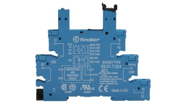 Nouveau Finder 34.51.7.024.0010 24VDC relais de puissance avec 93.01.7.024 Relay Socket x1 set