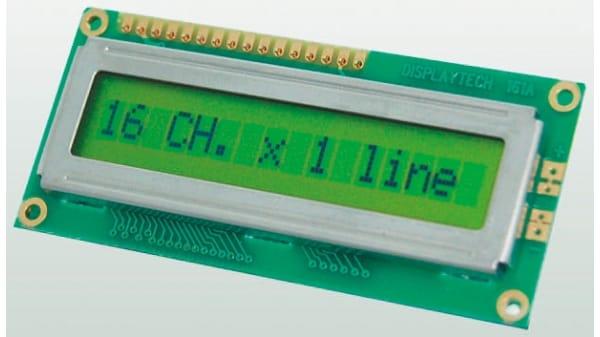 giallo su verde Displaytech Display LCD 162D-BC-BC ALFANUMERICO 2 Righe da 16 C