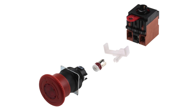 mxuteuk 2 pezzi 2NO 22mm Interruttore a pulsante di arresto di emergenza a fungo rosso AC 660V 10A LA36-02ZS