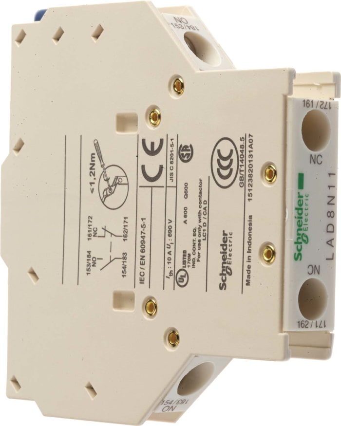 SCHNEIDER ELECTRIC LAD8N11 CONTACTOR AUXILIARY CONTACT