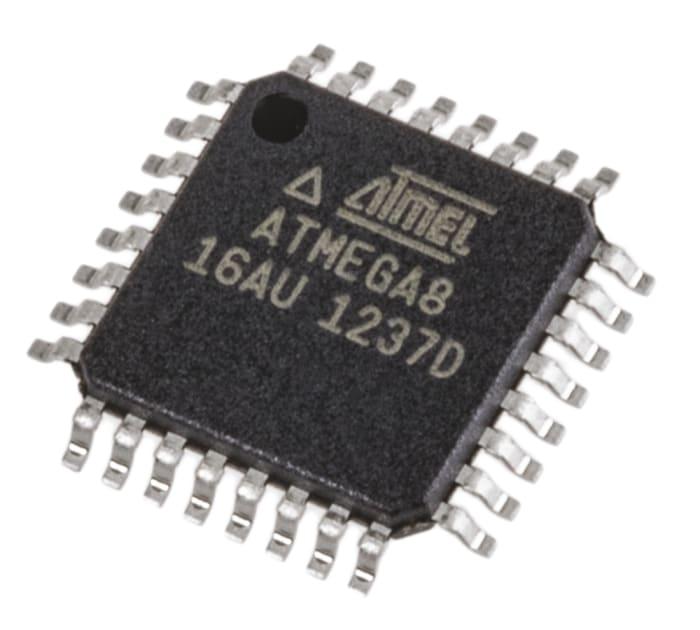 ATMEGA8-16AU Atmel | Atmel ATMEGA8-16AU, 8bit AVR Microcontroller, ATmega,  16MHz, 512 B, 8 kB Flash, 32-Pin TQFP | 628-1687 | RS Components
