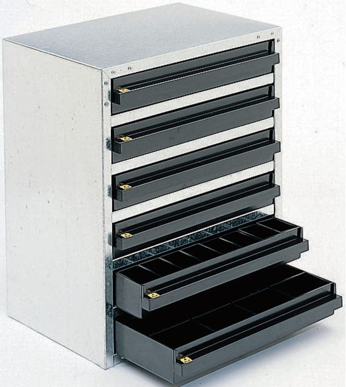 103725 Raaco 6 Drawer Esd, Electronic Component Storage Cabinet
