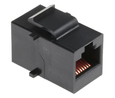 Product image for Black 8 way unshielded RJ45 coupler