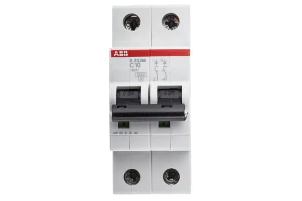 Product image for S200 MCB 10A 2 Pole Type C 10kA