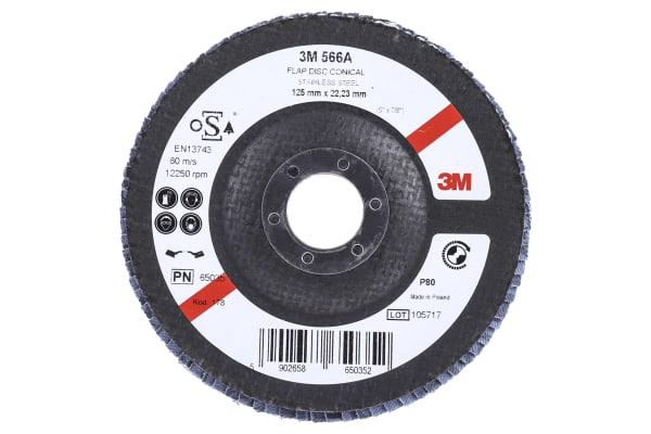 Product image for 3M 566A Zirconia Aluminium Flap Disc, 125mm, Medium Grade, P80 Grit, PN65026