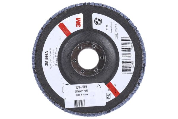 Product image for 3M 566A Zirconia Aluminium Flap Disc, 125mm, Fine Grade, P120 Grit, PN65026
