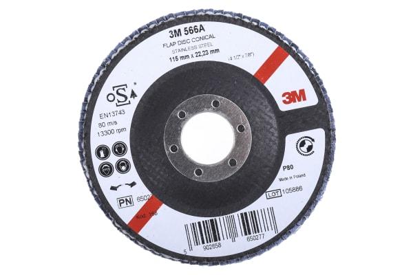 Product image for 3M 566A Zirconia Aluminium Flap Disc, 115mm, Medium Grade, P80 Grit, PN65026