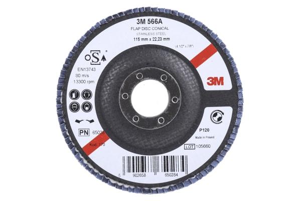 Product image for 3M 566A Zirconia Aluminium Flap Disc, 115mm, Fine Grade, P120 Grit, PN65026