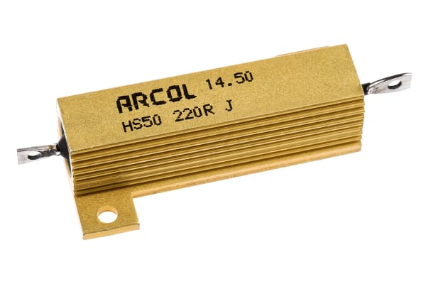 Product image for Arcol HS50 Series Aluminium Housed Axial Wire Wound Panel Mount Resistor, 220Ω ±5% 50W